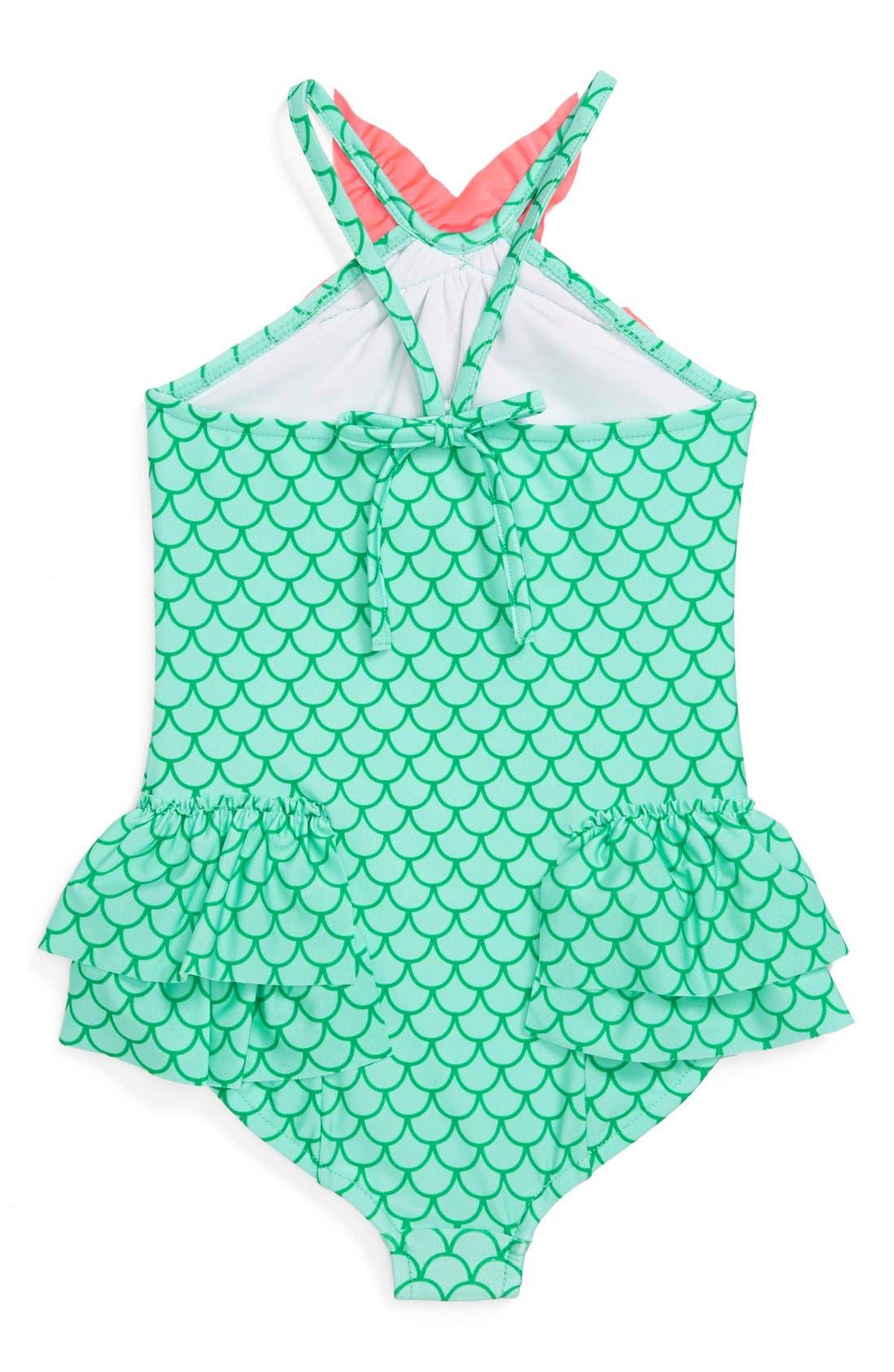 Alternate Image 2  - Love U Lots 'Mermaid' One-Piece Swimsuit (Little Girls)