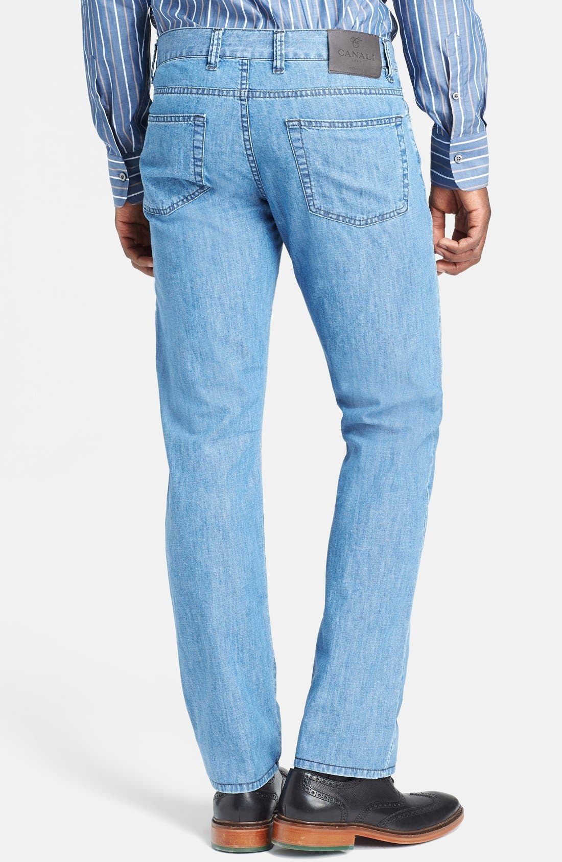 Alternate Image 2  - Canali Regular Fit Italian Jeans (Blue)