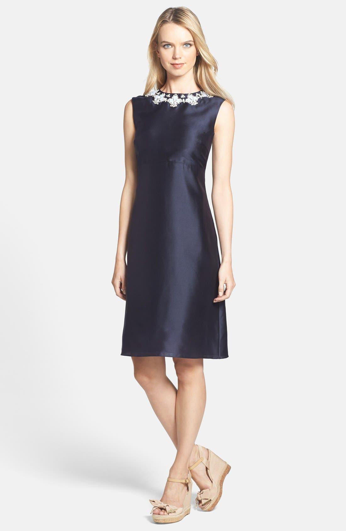 Main Image - Tory Burch 'Colton' Embellished Silk A-Line Dress