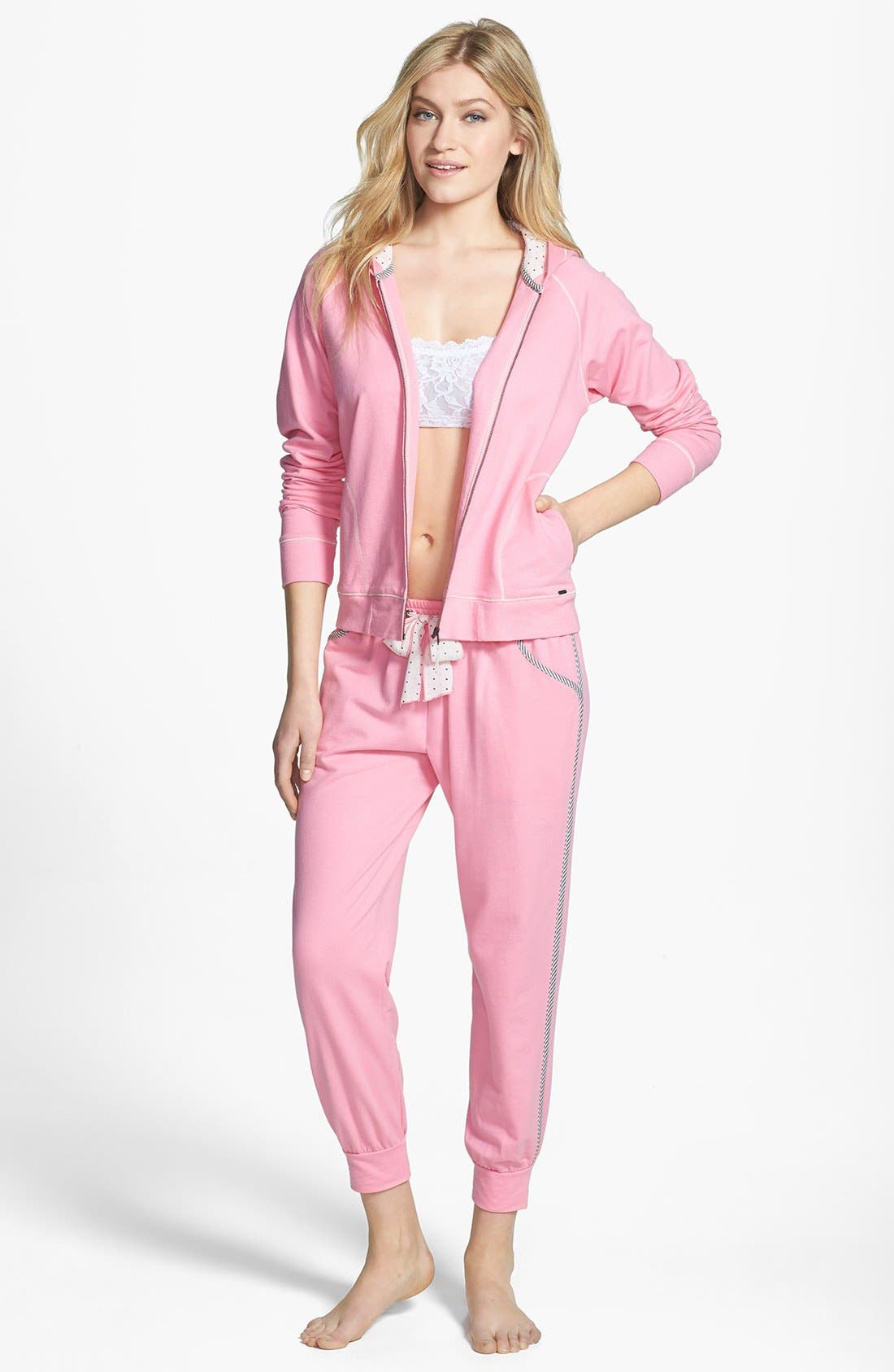 Alternate Image 3  - kensie 'Rosy Outlook' French Terry Ankle Pajama Pants