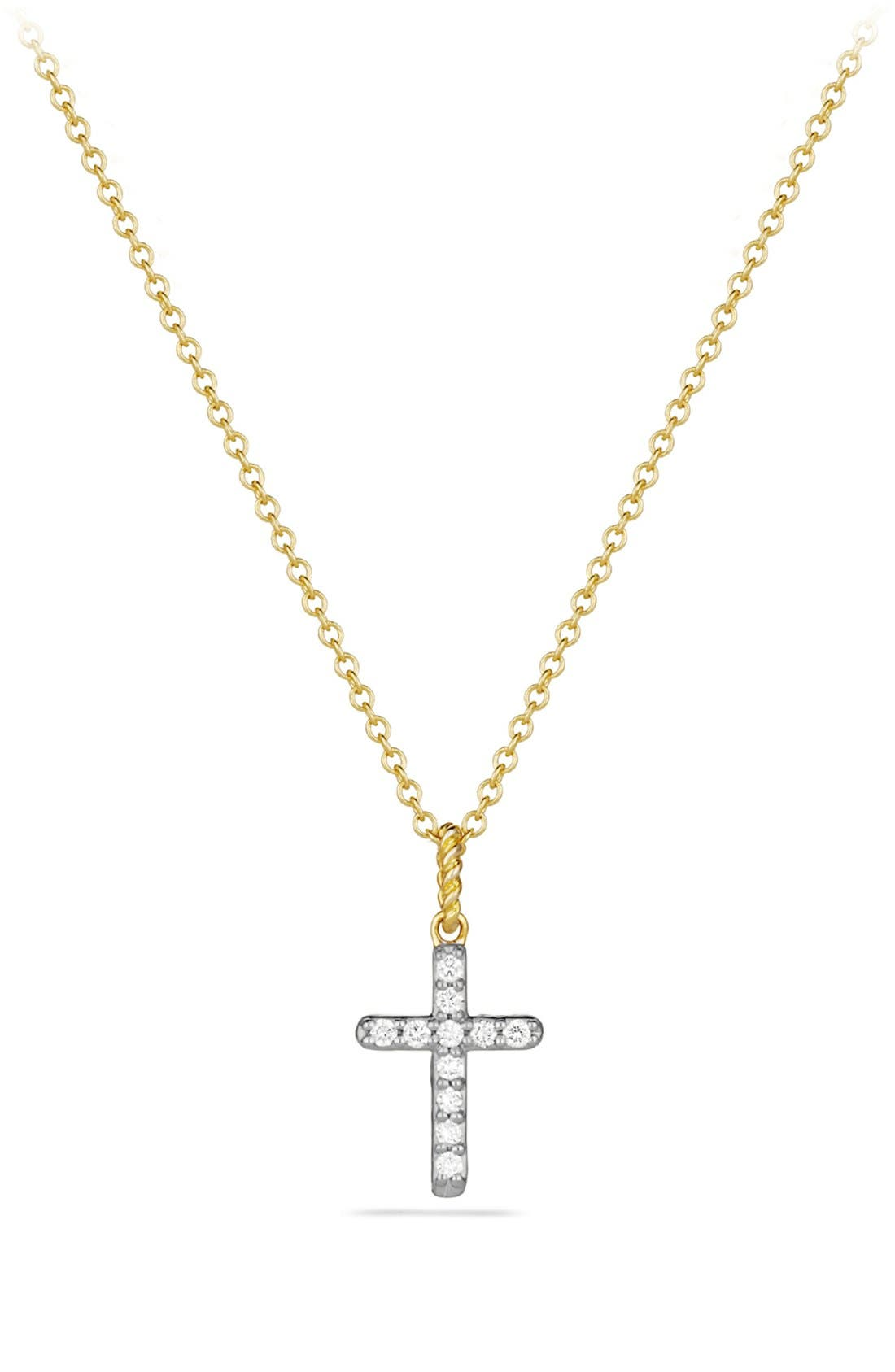 Main Image - David Yurman 'Cable Collectibles' Cross with Diamonds in Gold on Chain
