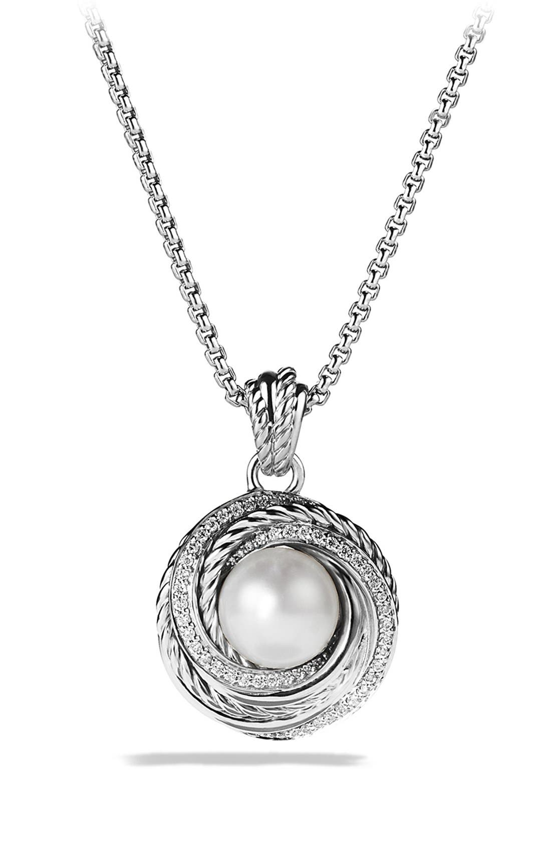 Alternate Image 1 Selected - David Yurman 'Pearl Crossover' Pendant with Diamonds on Chain
