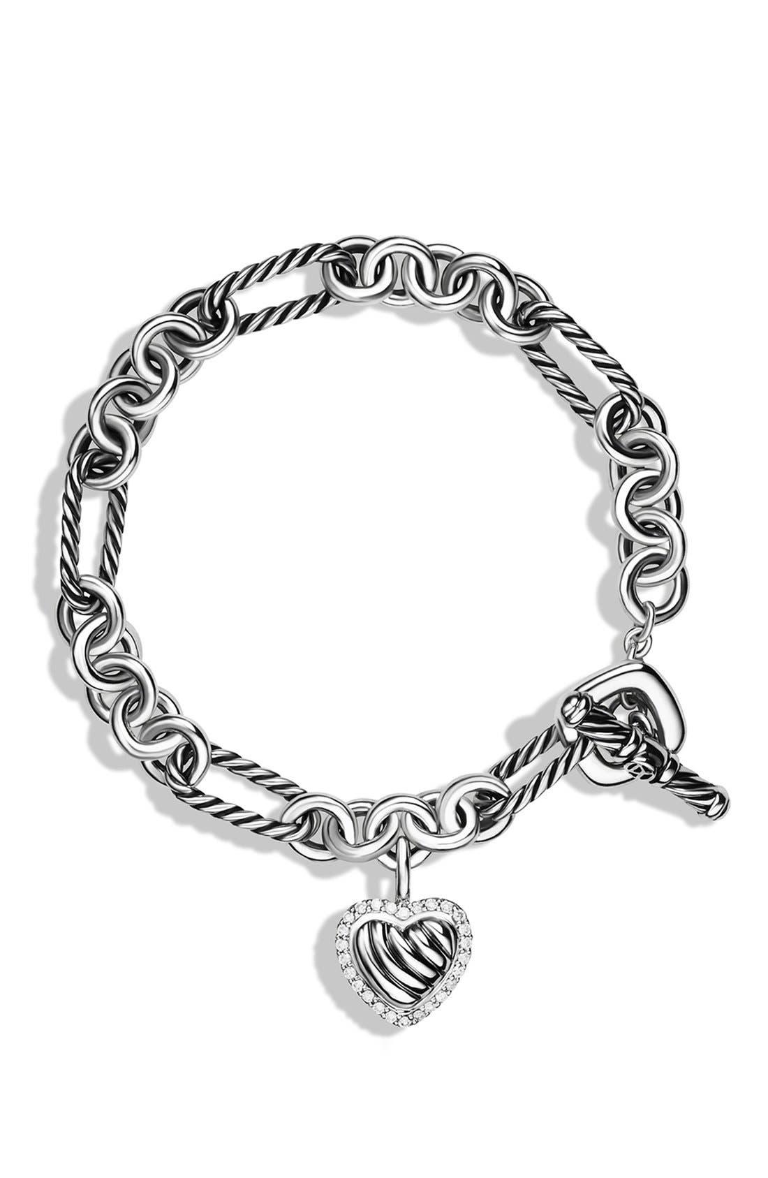 Alternate Image 2  - David Yurman 'Cable Heart' Charm Bracelet with Diamonds