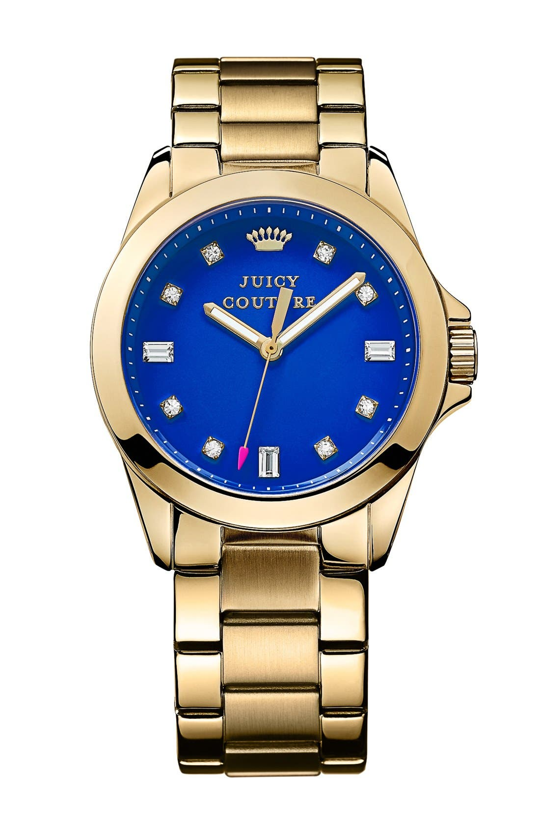 Alternate Image 1 Selected - Juicy Couture 'Stella' Crystal Index Round Bracelet Watch, 36mm