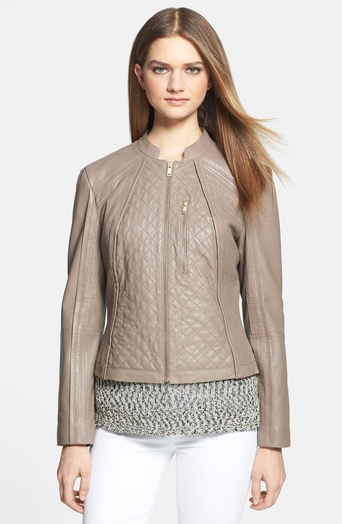 Alternate Image 1 Selected - Trina Turk 'Winston' Zip Front Leather Jacket