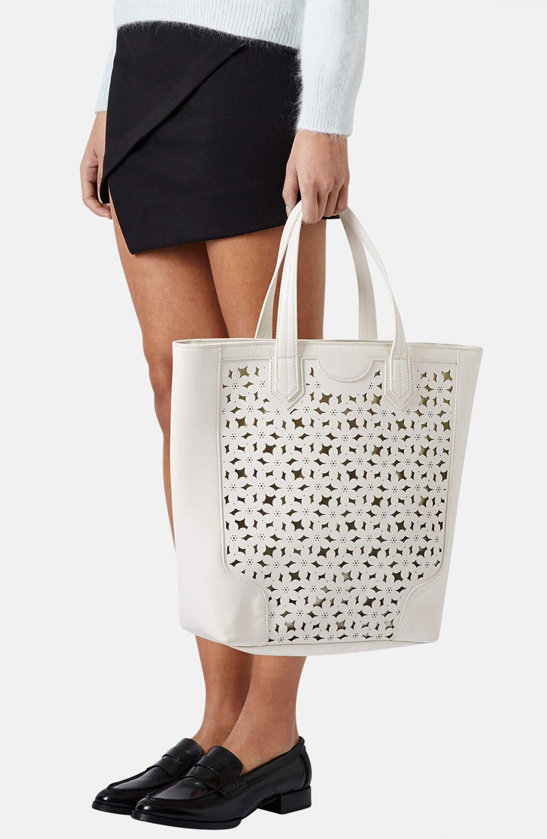 Alternate Image 2  - Topshop Daisy Cutout Tote Bag