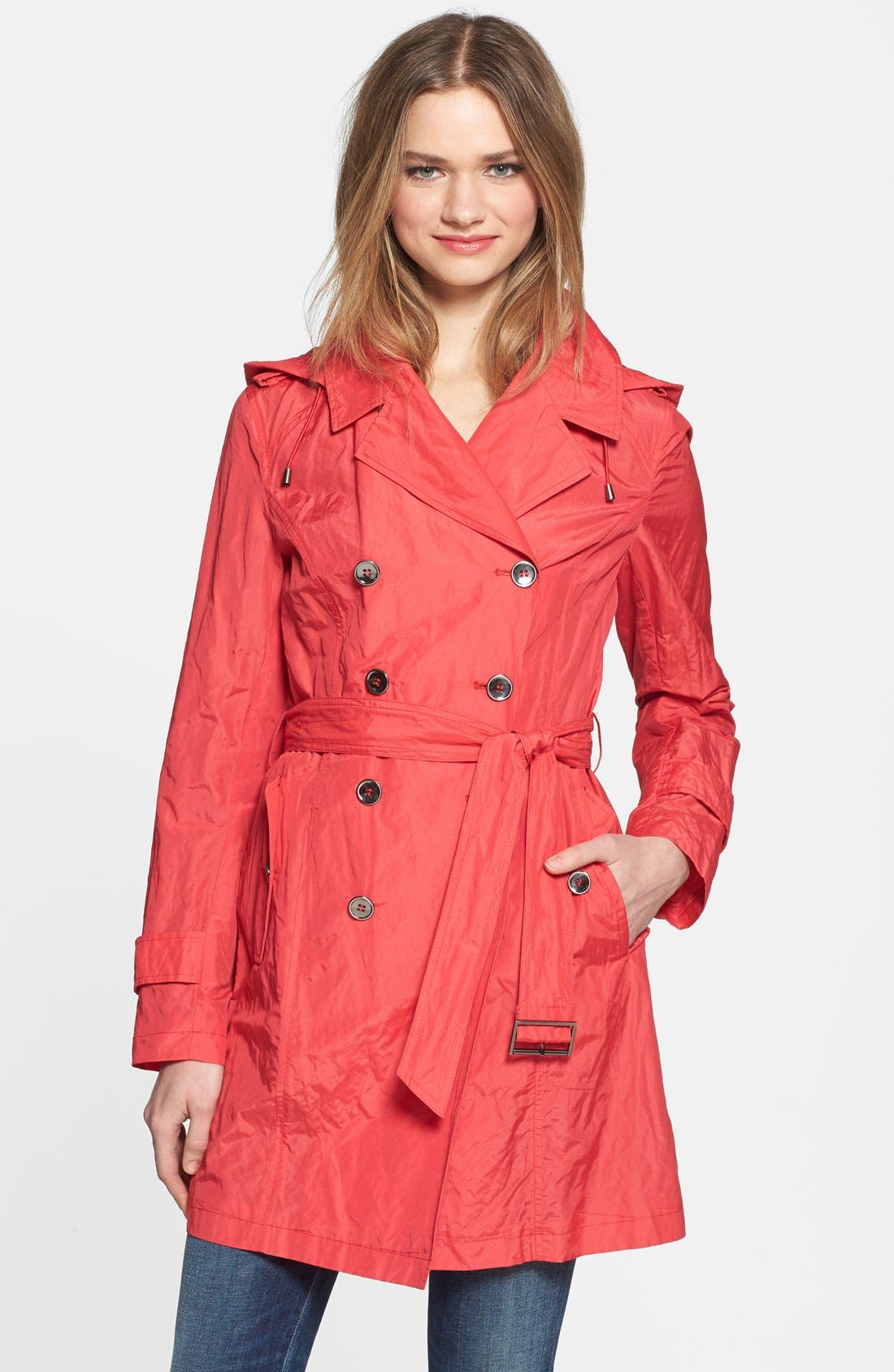 Main Image - Cole Haan Double Breasted Packable Metallic Trench Coat