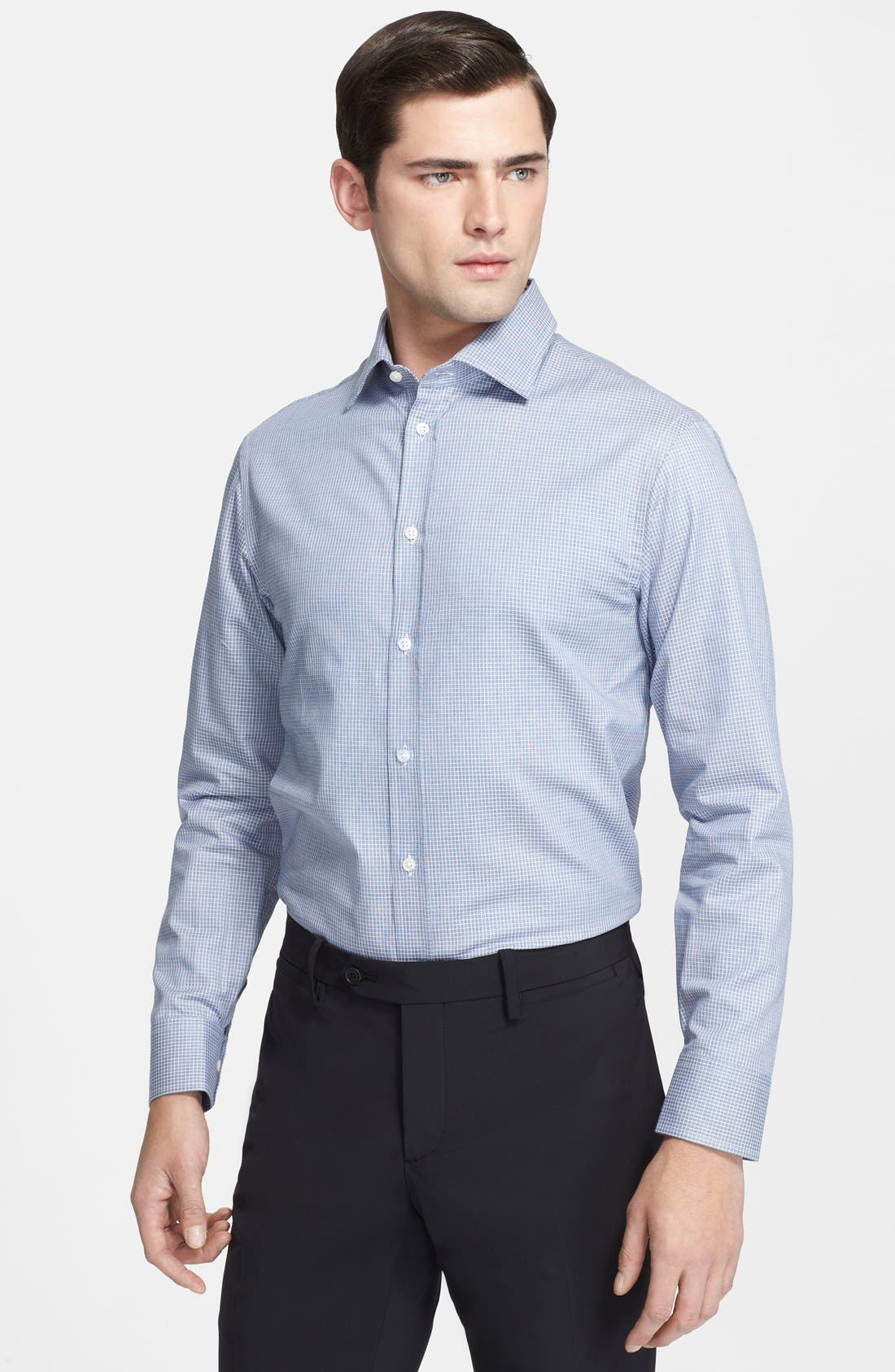 Main Image - Armani Collezioni Slim Fit Check Grid Dress Shirt