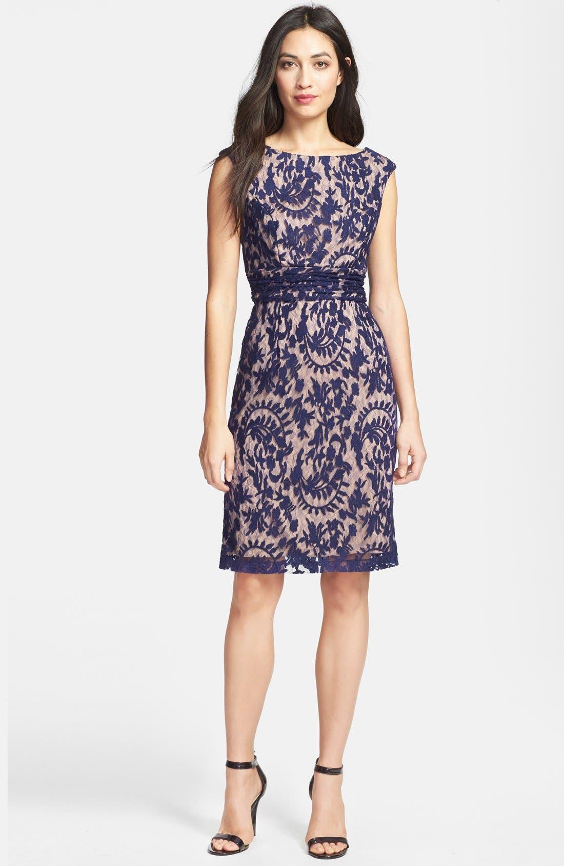 Alternate Image 2  - Adrianna Papell Lace Overlay Sheath Dress
