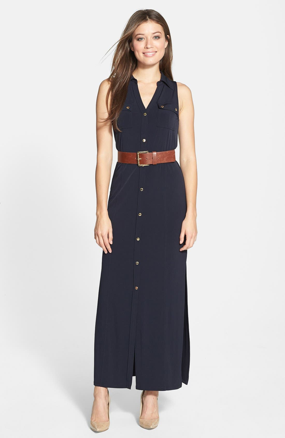 Alternate Image 1 Selected - MICHAEL Michael Kors Sleeveless Maxi Shirtdress (Petite)
