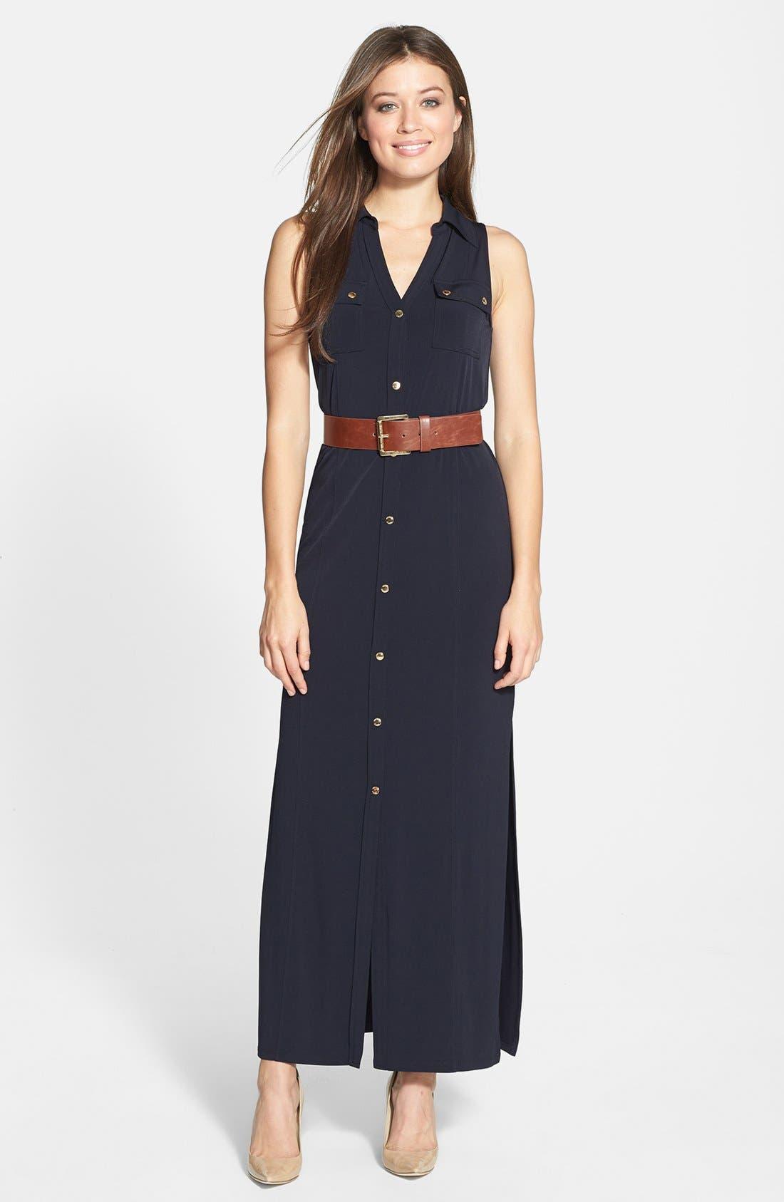 Main Image - MICHAEL Michael Kors Sleeveless Maxi Shirtdress (Petite)