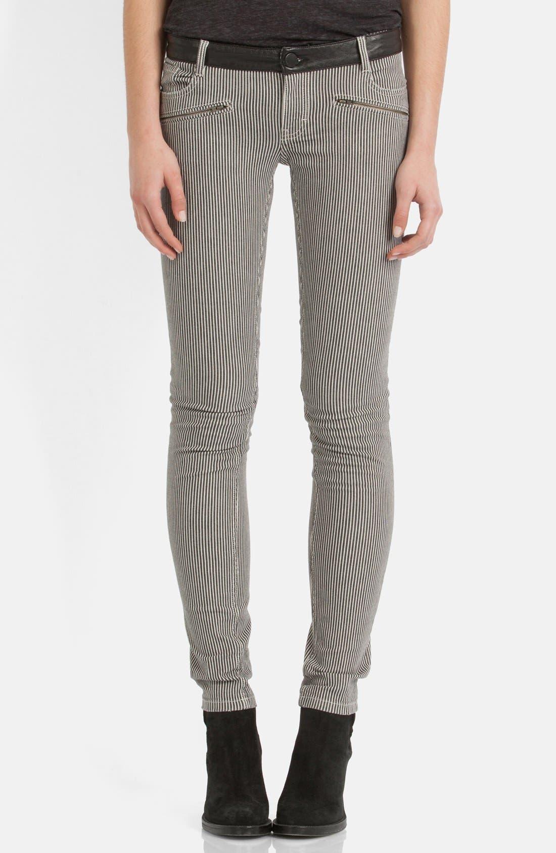 Alternate Image 1 Selected - maje 'Aki' Stripe Stretch Skinny Jeans