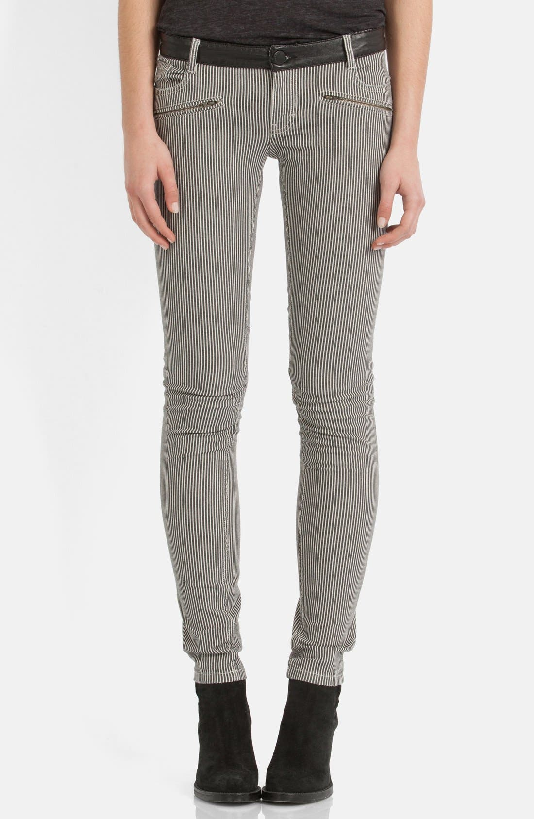 Main Image - maje 'Aki' Stripe Stretch Skinny Jeans
