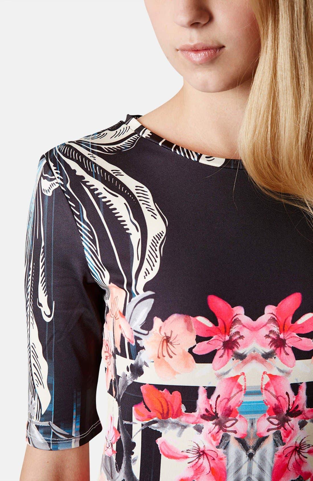Alternate Image 4  - Topshop 'Orchid Mirror' Print Body-Con Dress