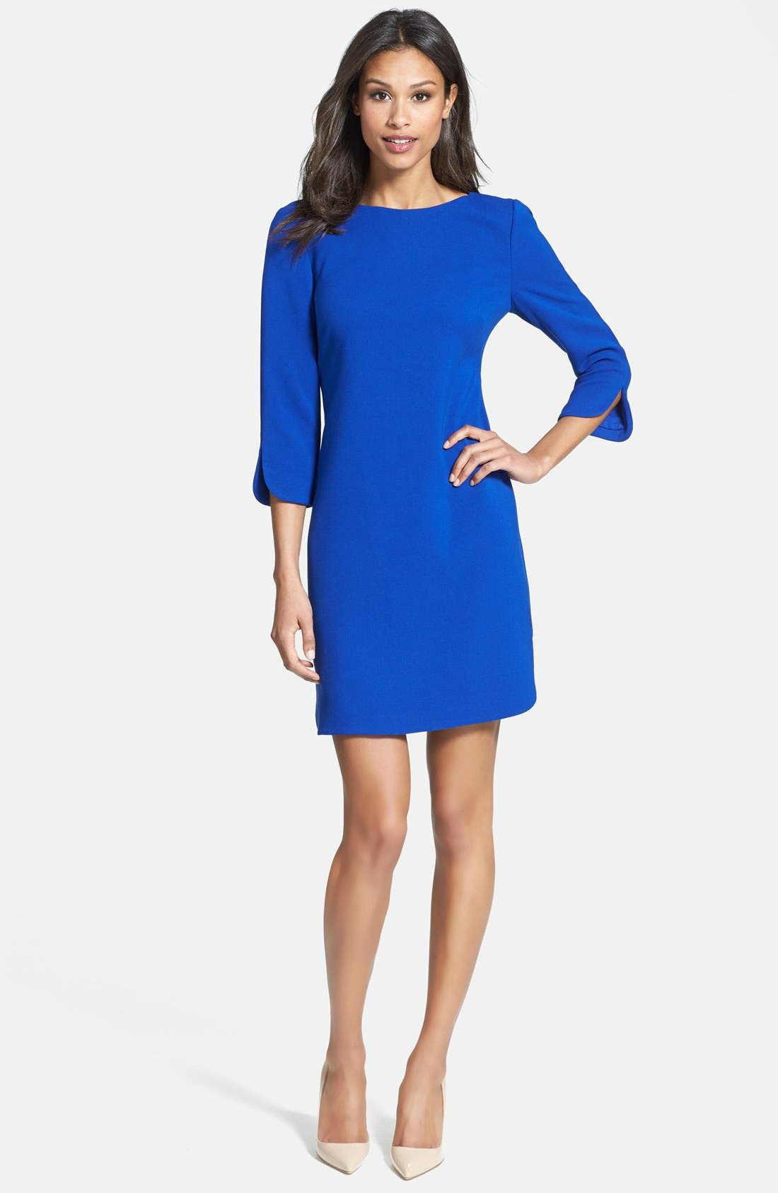 Alternate Image 2  - Eliza J Split Cuff Boatneck Shift Dress (Regular & Petite)