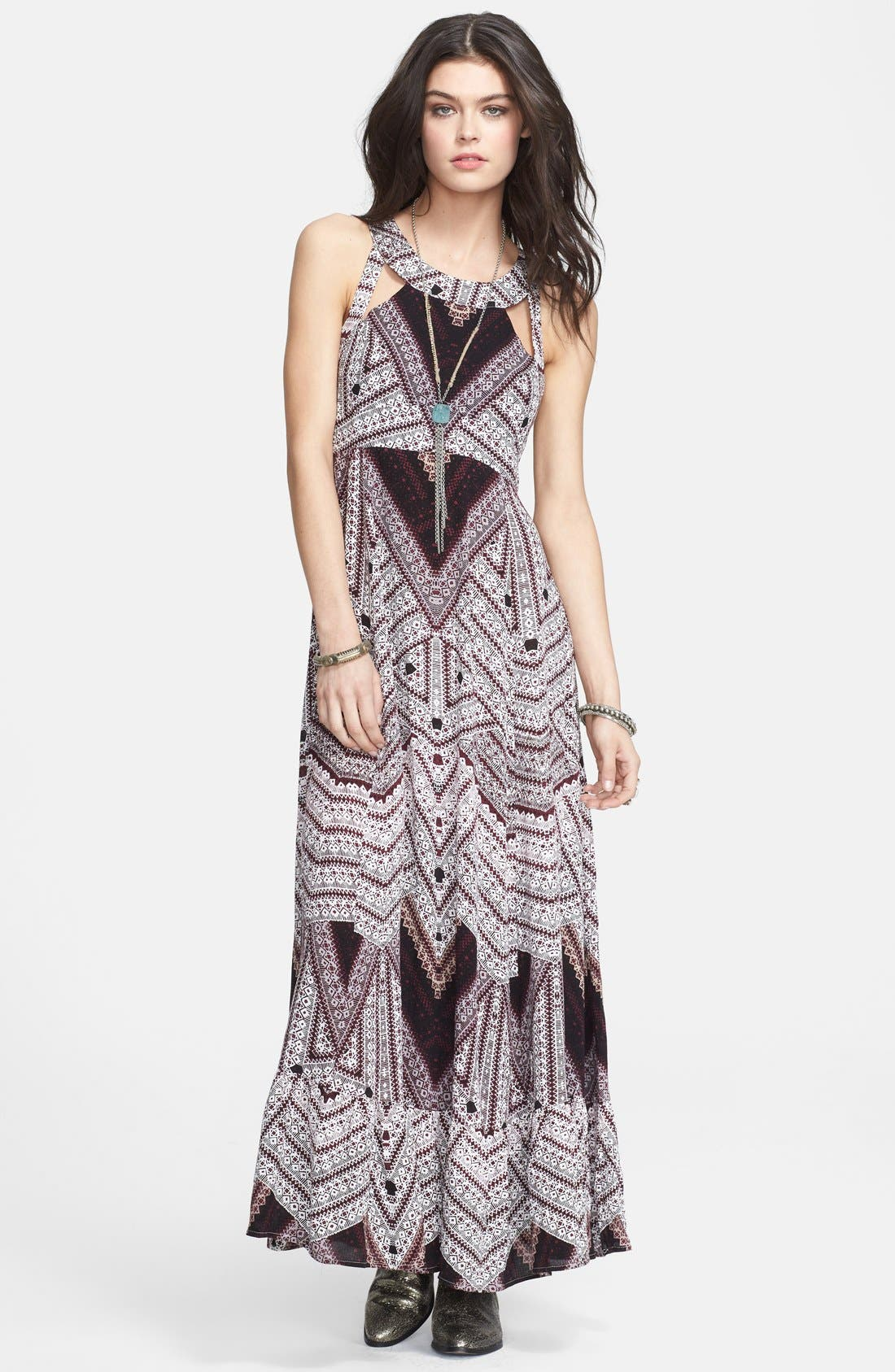 Alternate Image 1 Selected - Free People 'You Made My Day' Print Cutout Maxi Dress