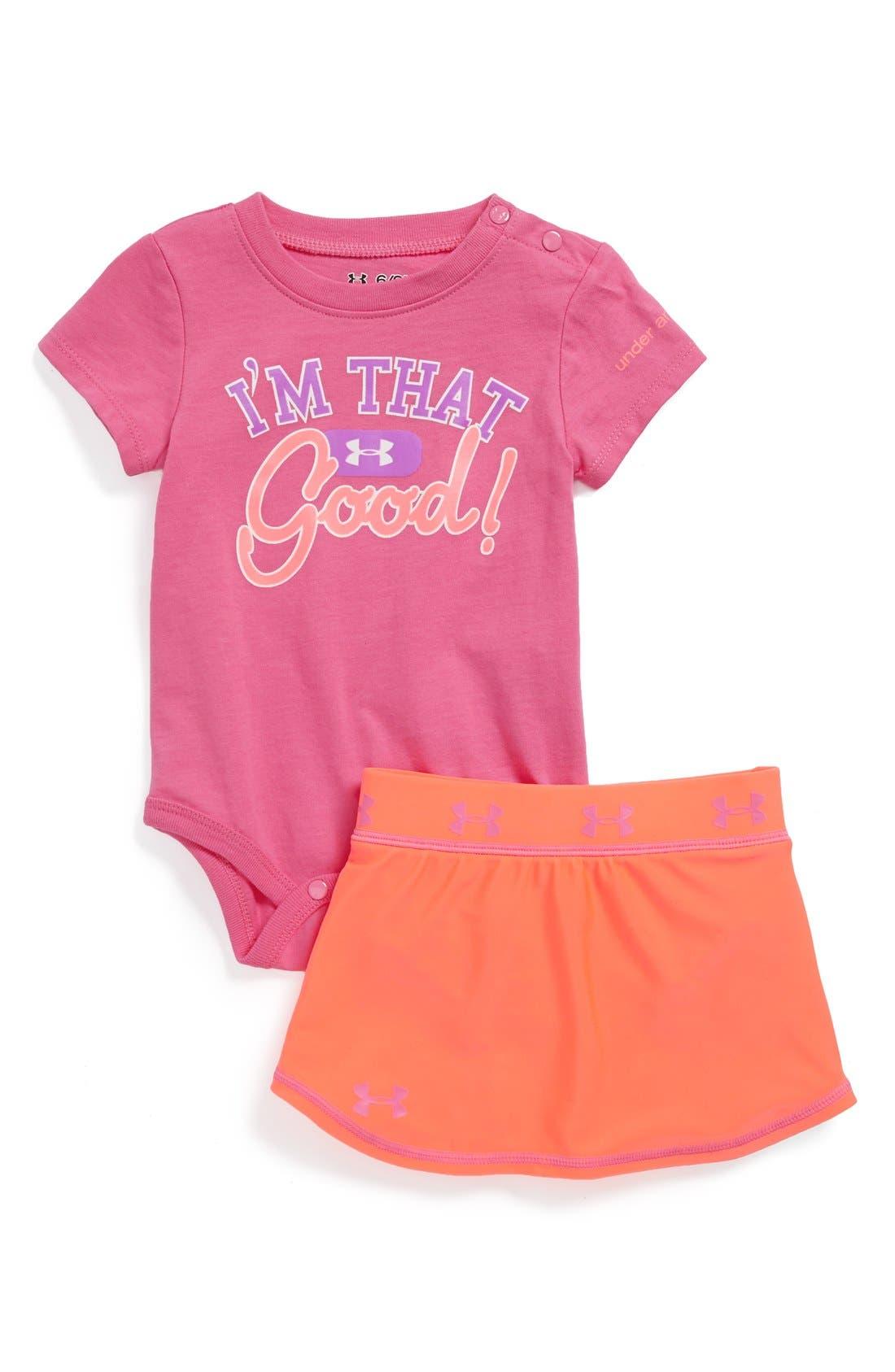 Main Image - Under Armour Bodysuit & Skirt (Baby Girls)