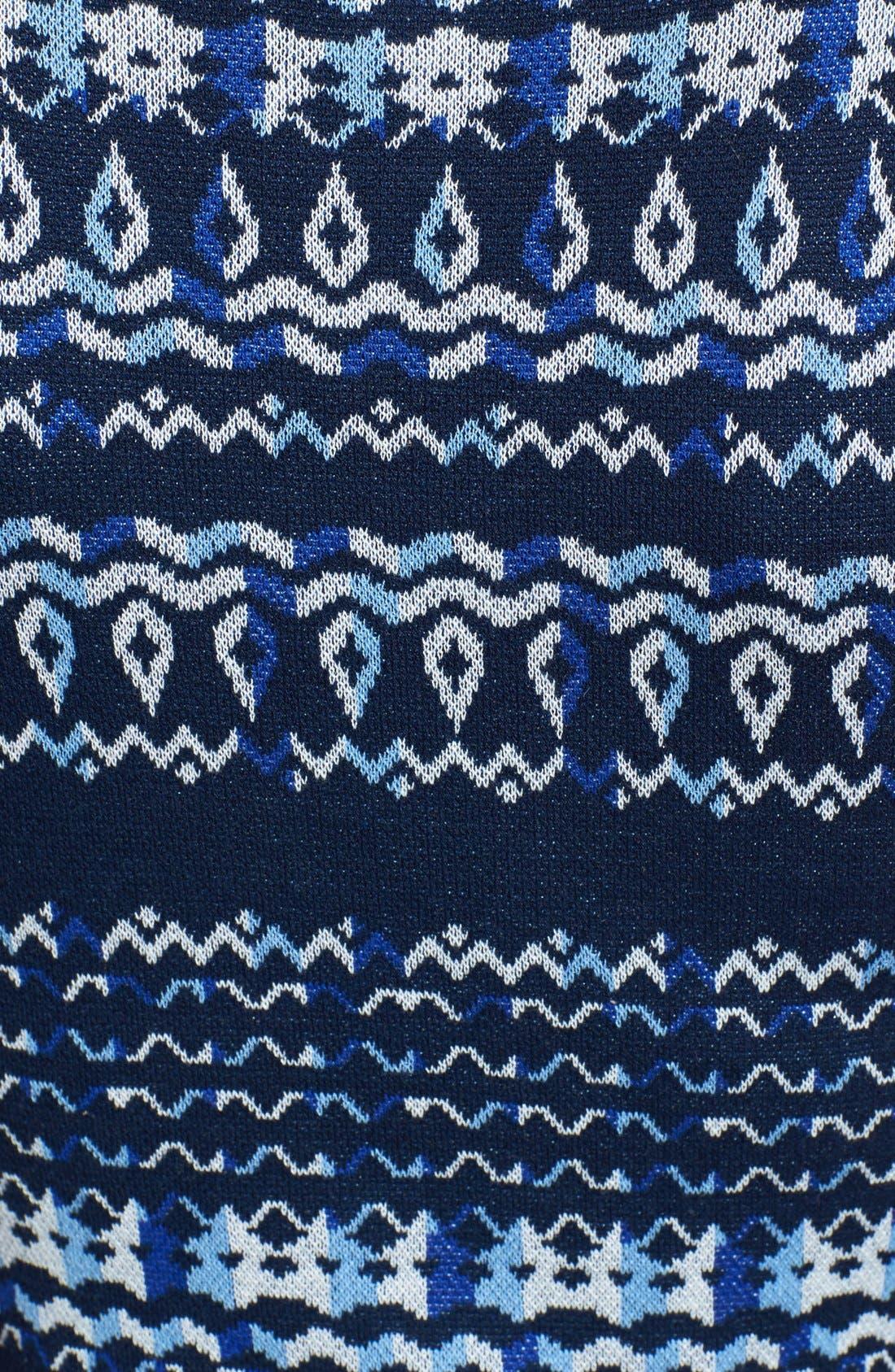 Alternate Image 3  - BCBGMAXAZRIA Cap Sleeve Intarsia Knit Sweater Dress (Regular & Petite)