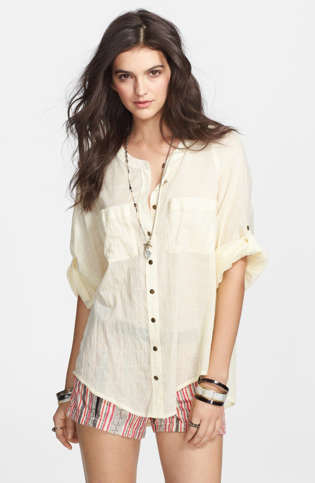Main Image - Free People 'Put Your Back Into It' Lace Back Cotton Shirt