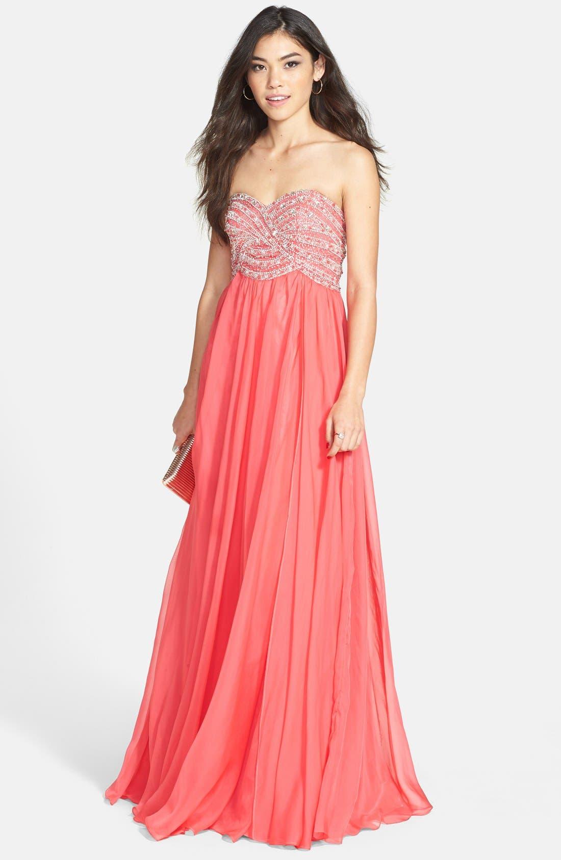 Alternate Image 1 Selected - Sherri Hill Embellished Bodice Chiffon Gown