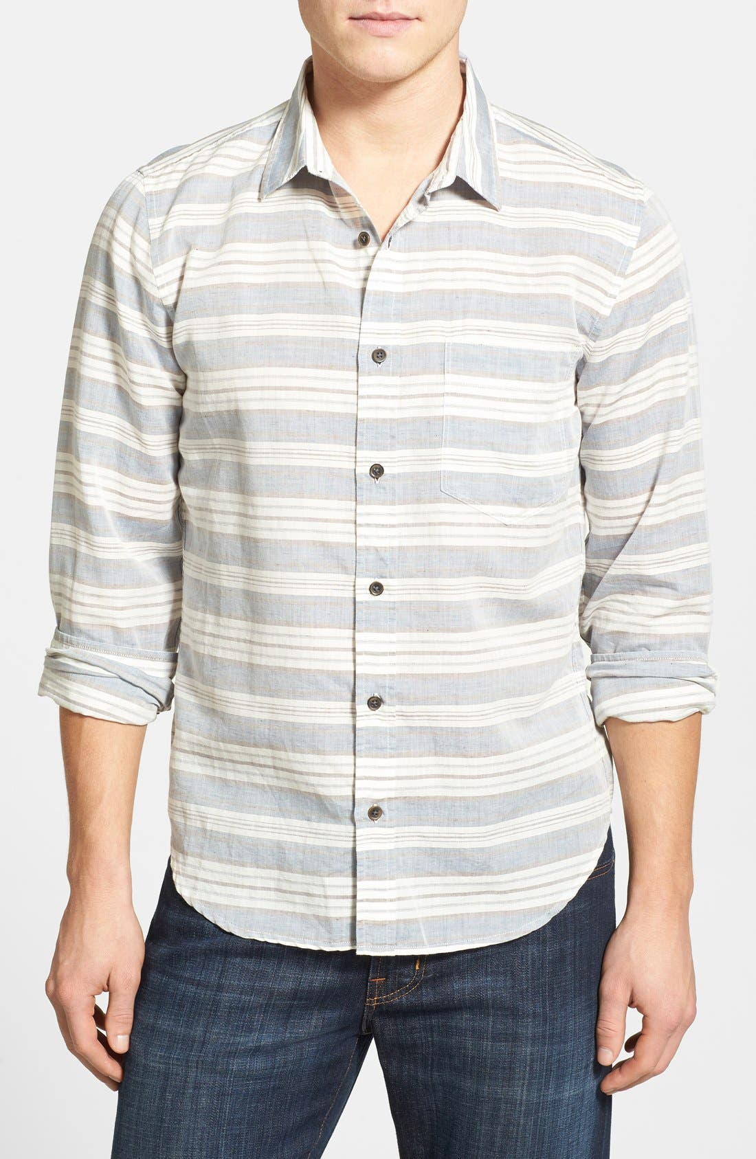 Main Image - 7 For All Mankind® Trim Fit Stripe Sport Shirt