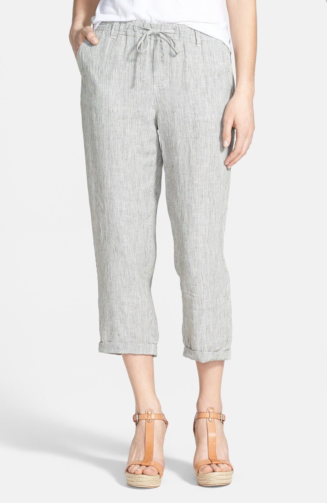 Alternate Image 1 Selected - Caslon® Slub Linen Crop Pants