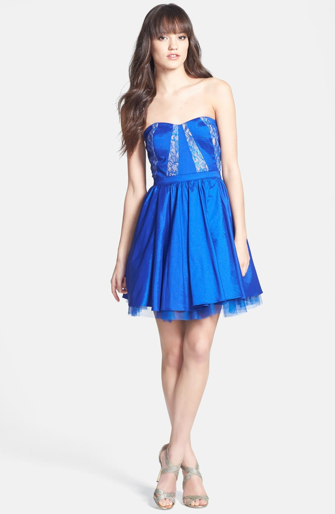 Alternate Image 3  - Aidan Mattox Strapless Lace Trim Taffeta Dress (Online Only)