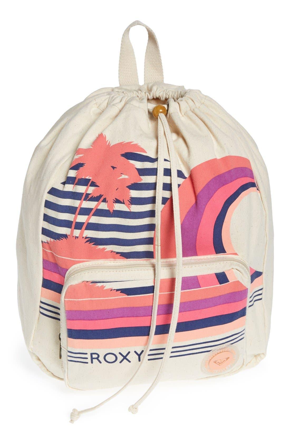 Alternate Image 1 Selected - Roxy 'Flybird' Drawstring Backpack (Girls)