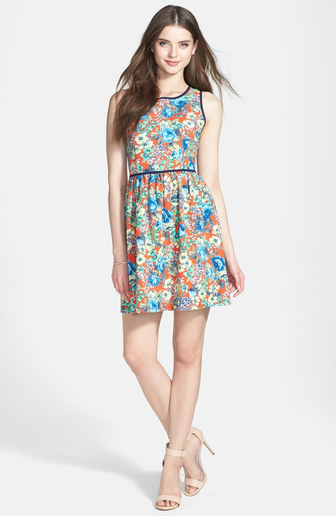 Main Image - Soprano Piped Fit & Flare Dress (Juniors)