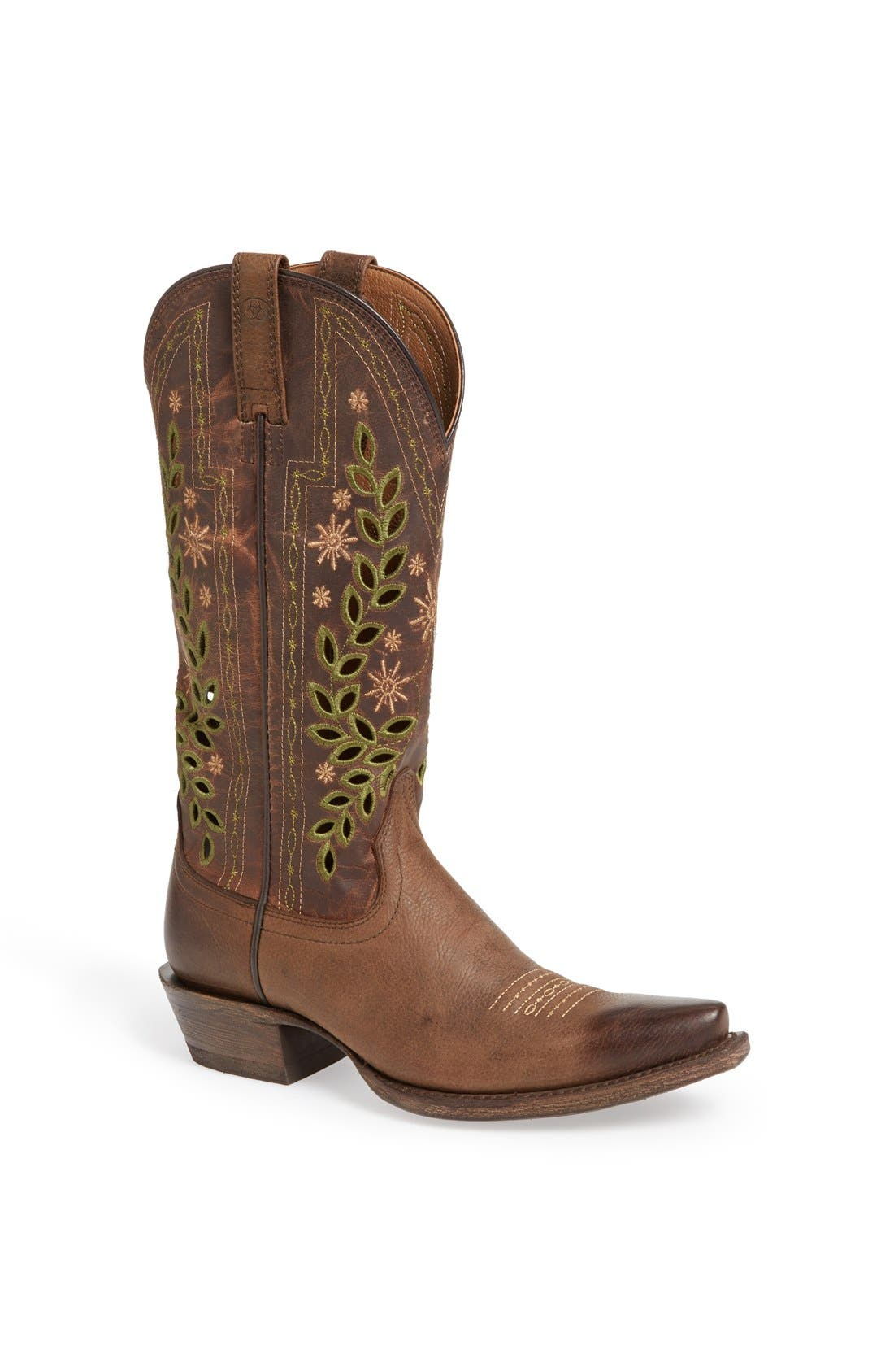 Alternate Image 1 Selected - Ariat 'Arrosa' Embroidered Cutout Western Pointed Toe Boot