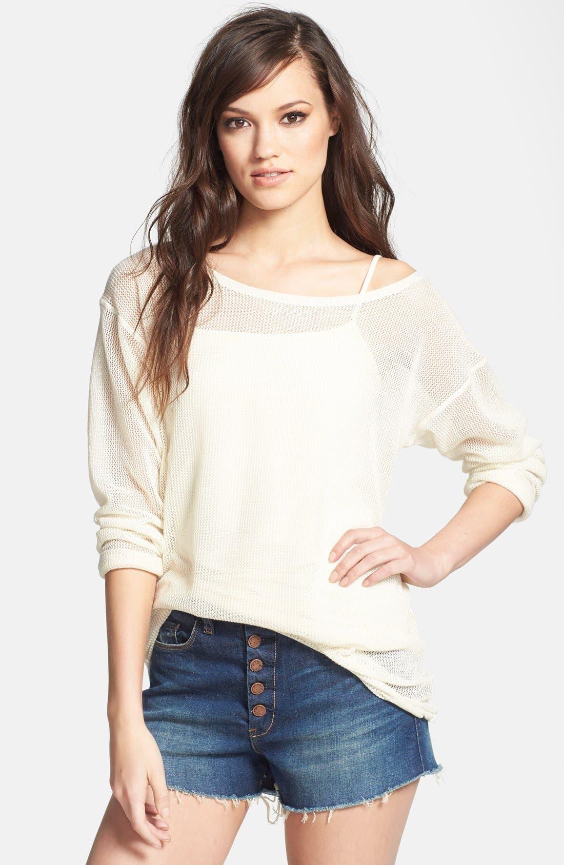 Alternate Image 1 Selected - Tildon Mesh Cotton Pullover