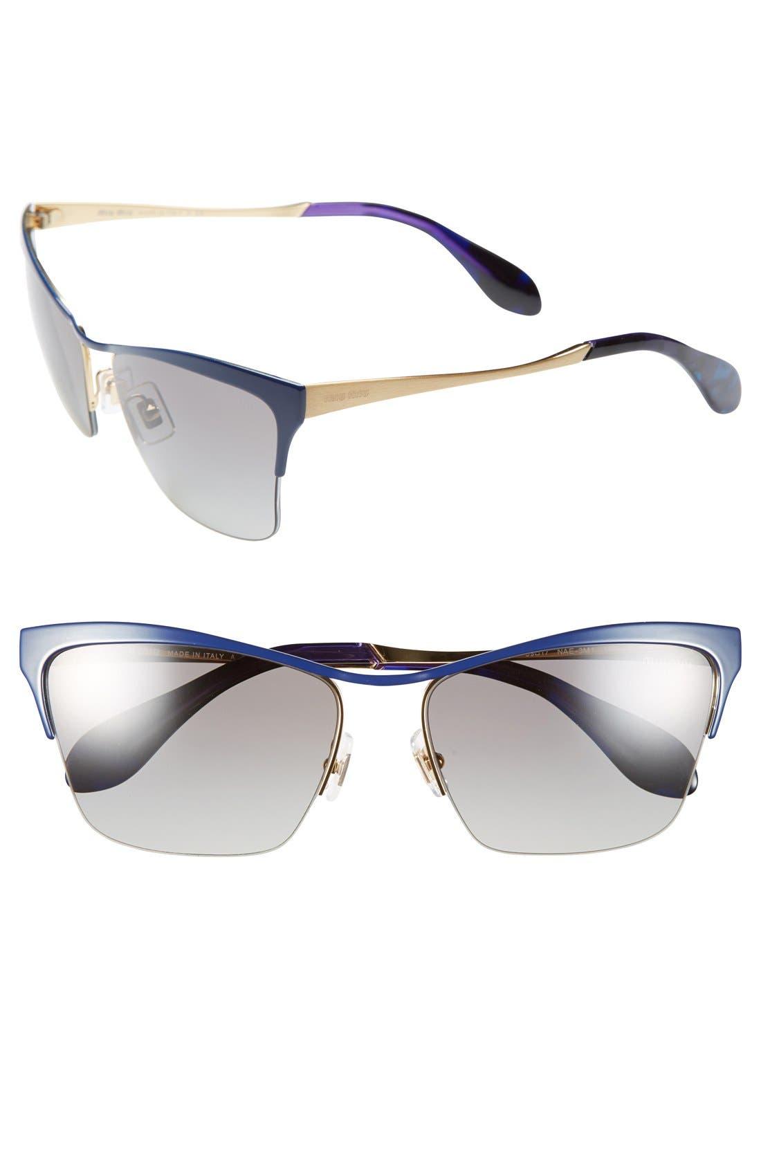 Main Image - Miu Miu 59mm Semi Rimless Sunglasses