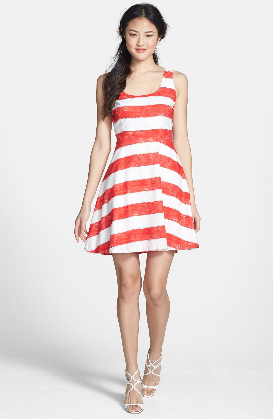 Alternate Image 2  - BB Dakota Stripe Cotton Fit & Flare Dress