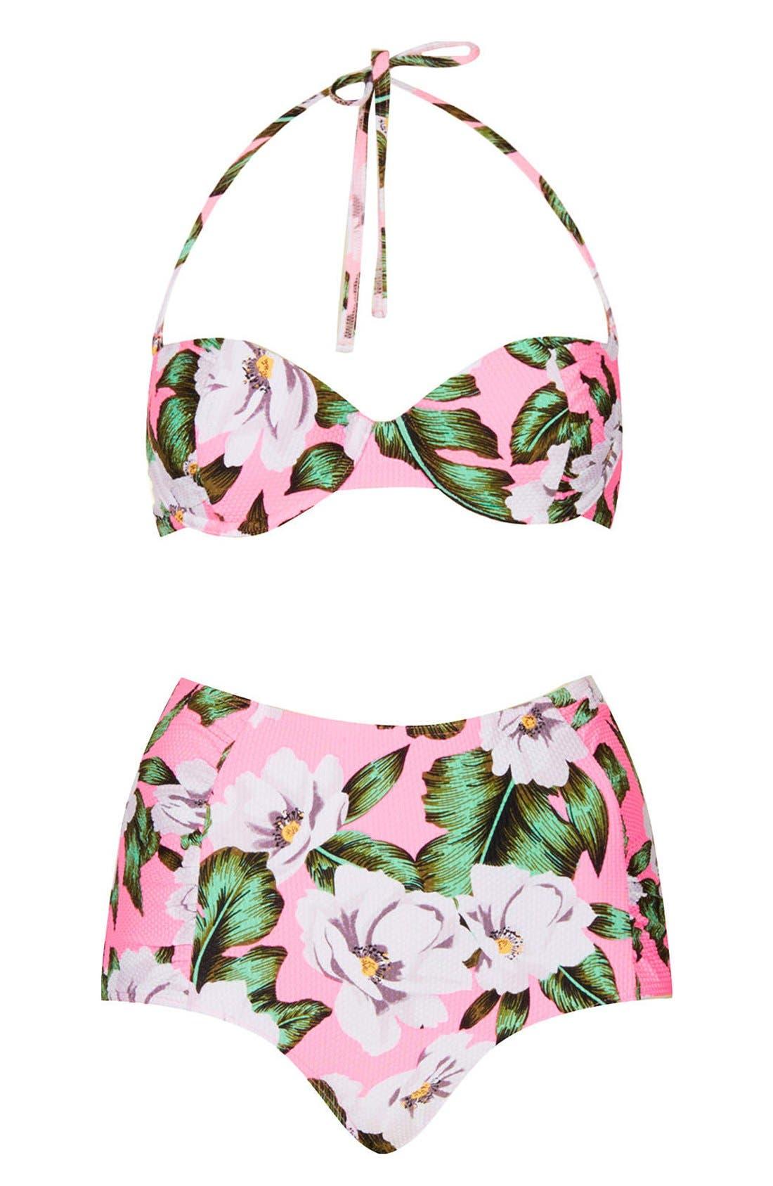 Alternate Image 1 Selected - Topshop 'Aloha' Print Floral Bikini
