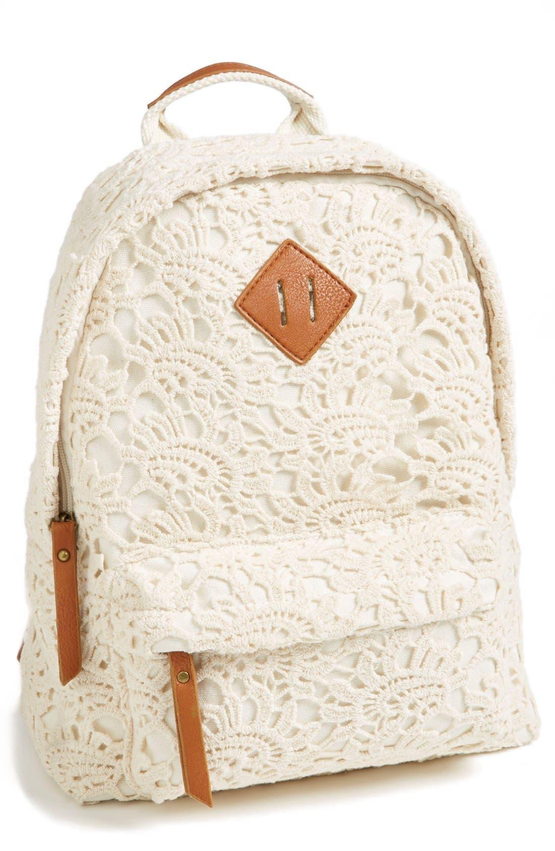 Main Image - KENDALL + KYLIE Madden Girl Crochet Backpack (Juniors)