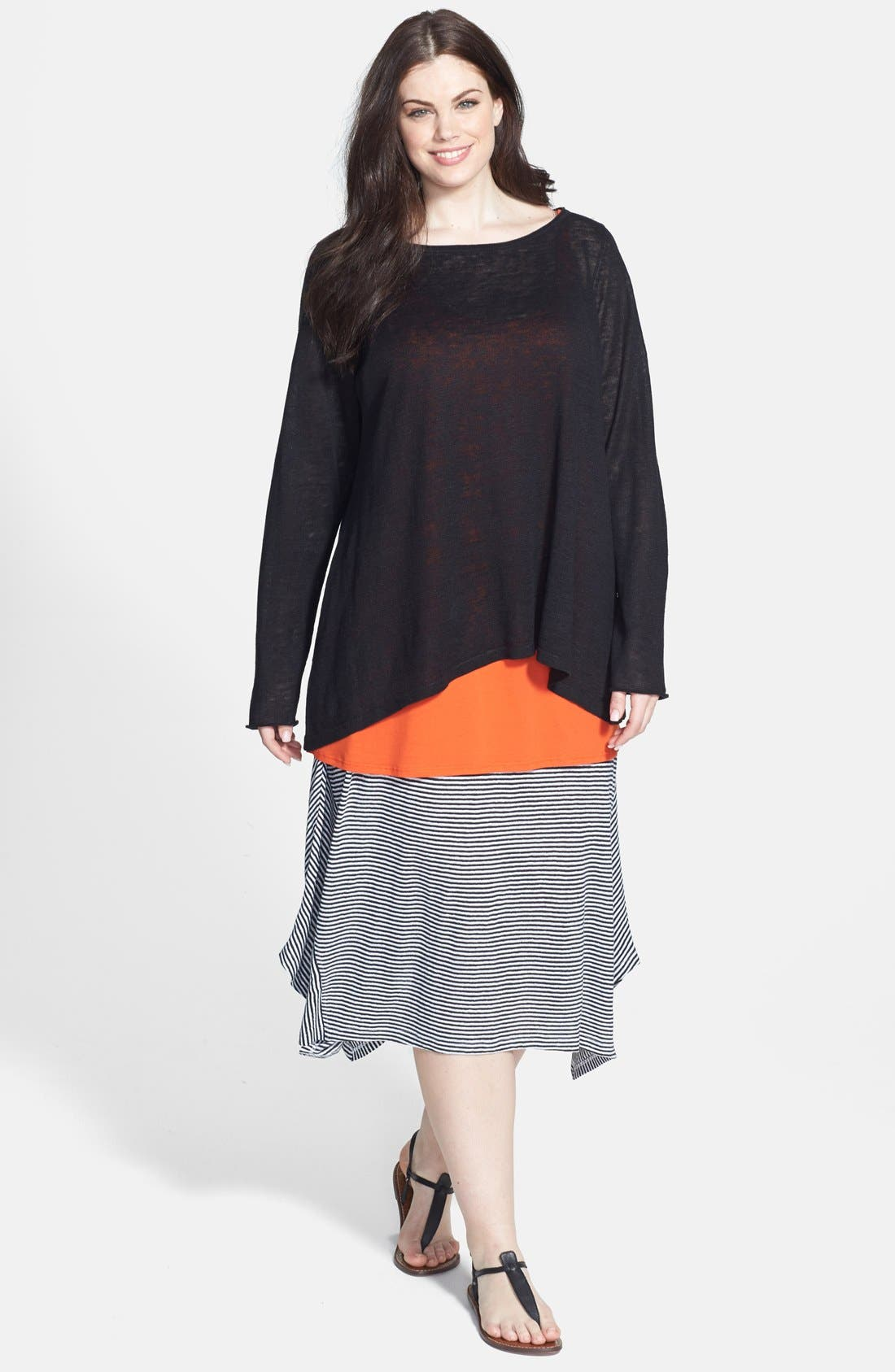 Alternate Image 4  - Eileen Fisher Stripe Organic Linen Knit Skirt (Plus Size)
