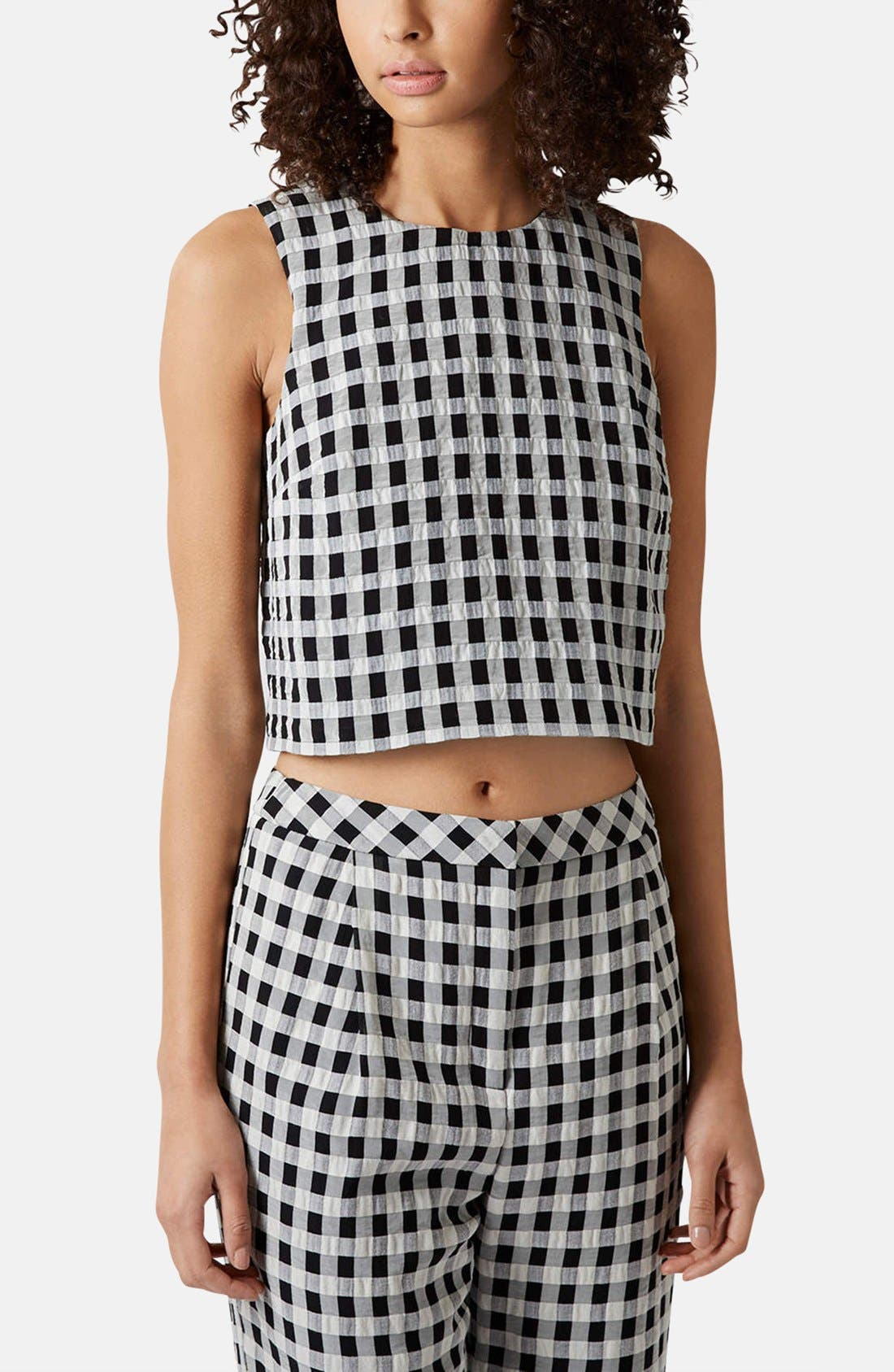 Main Image - Topshop Textured Gingham Shell