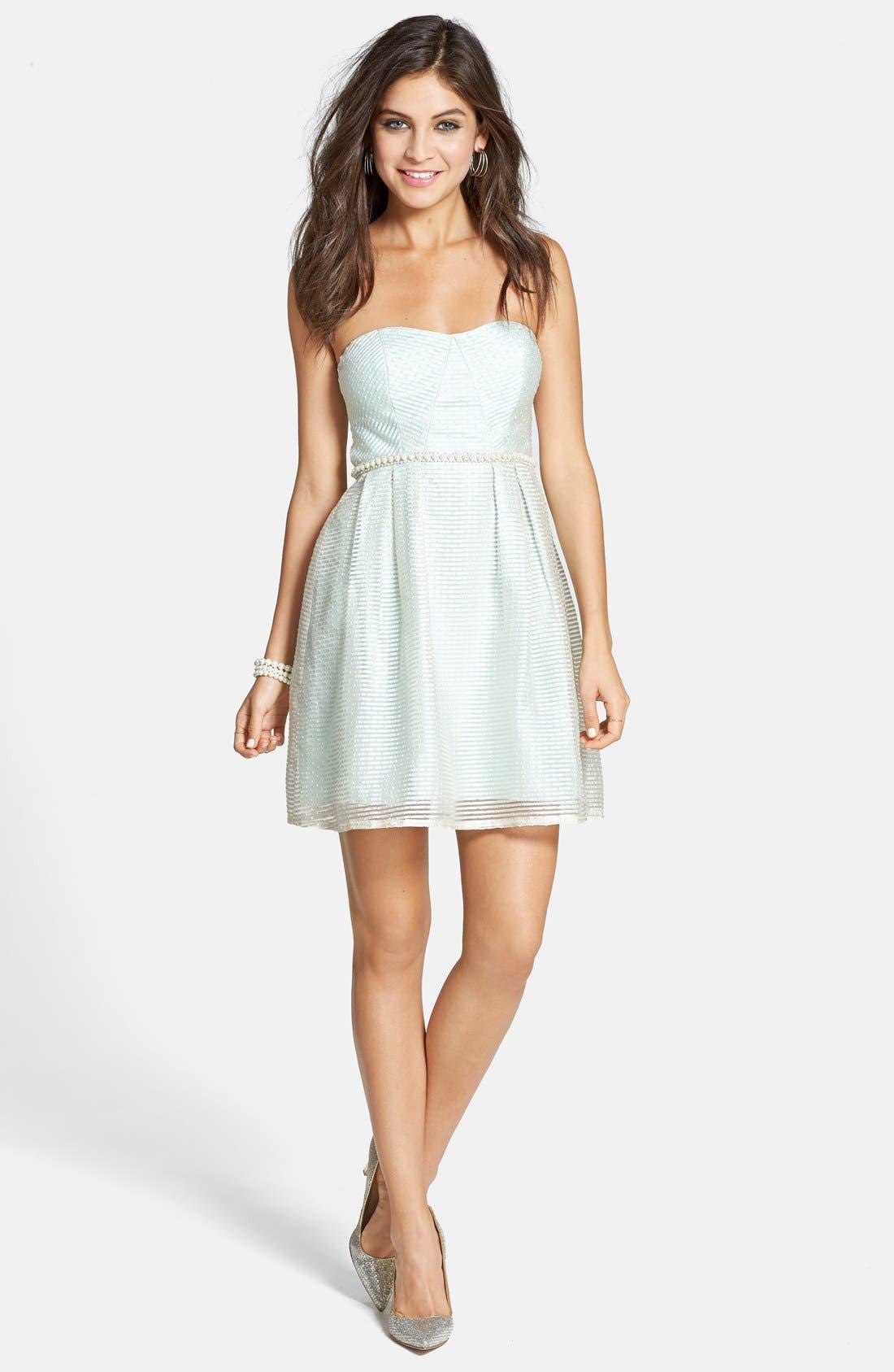 Main Image - a. drea Strapless Seersucker Fit & Flare Dress (Juniors)