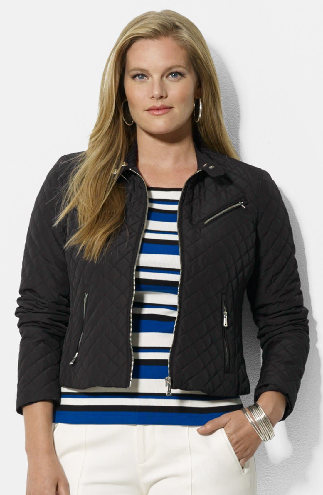 Alternate Image 1 Selected - Lauren Ralph Lauren Quilted Hip Length Moto Jacket (Plus Size)