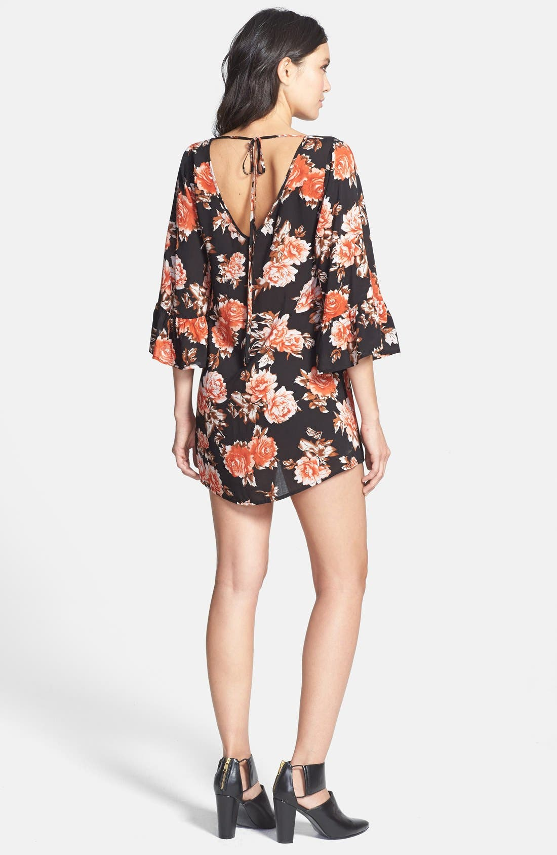 Alternate Image 2  - JOA Floral Bell Sleeve Dress