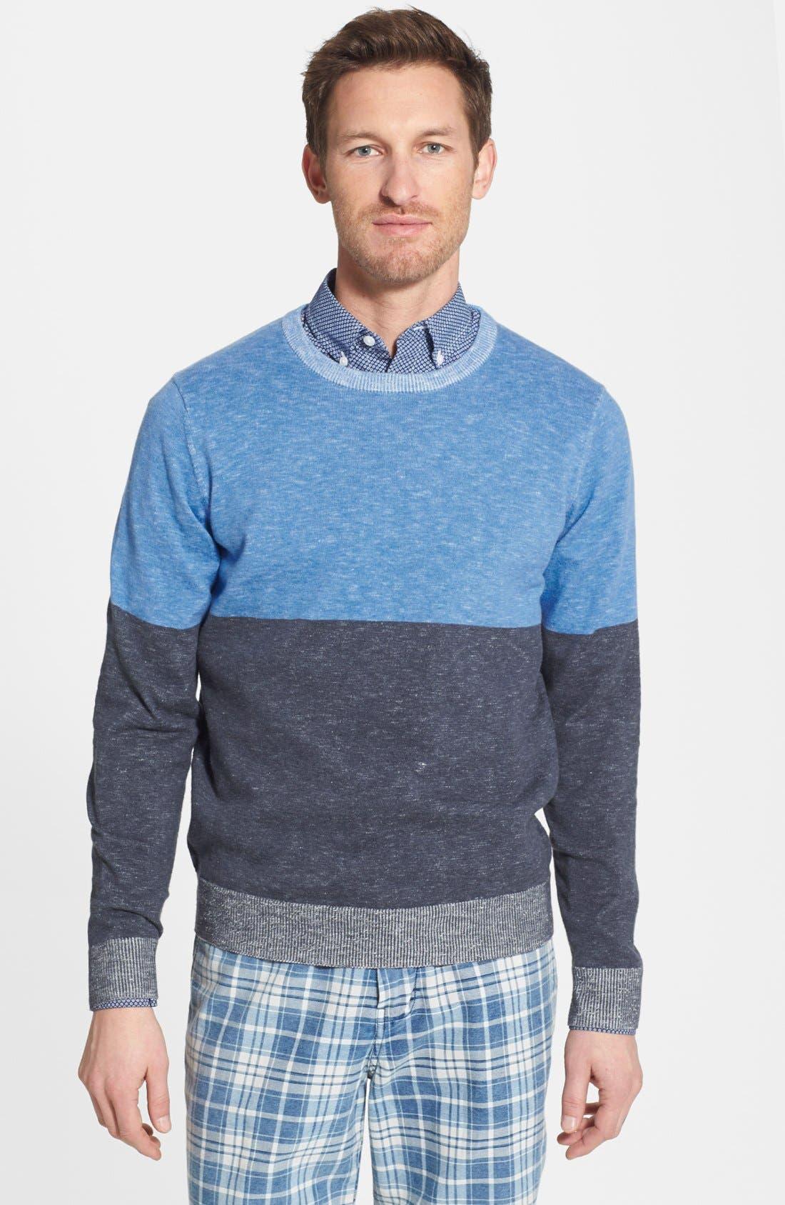 Alternate Image 1 Selected - Grayers 'Onlan' Colorblock Trim Fit Crewneck Sweater