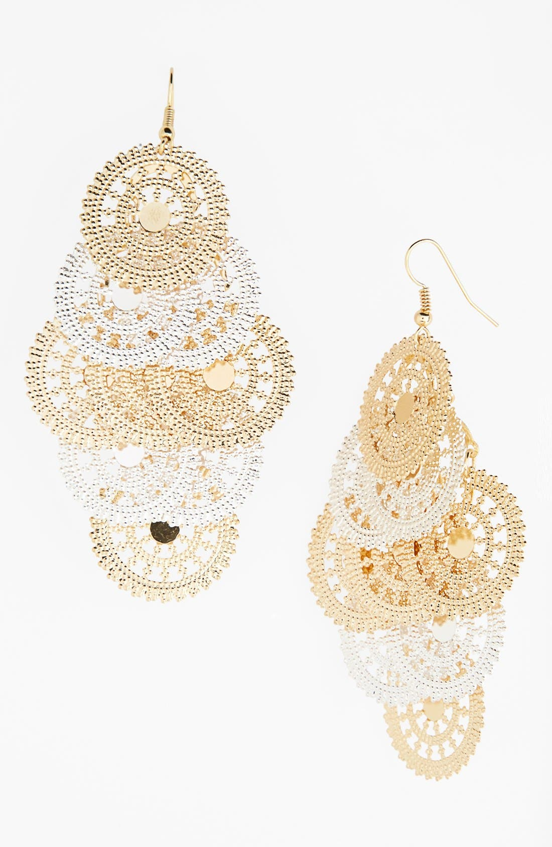 Alternate Image 1 Selected - Carole Large Two-Tone Chandelier Earrings (Juniors) (Online Only)