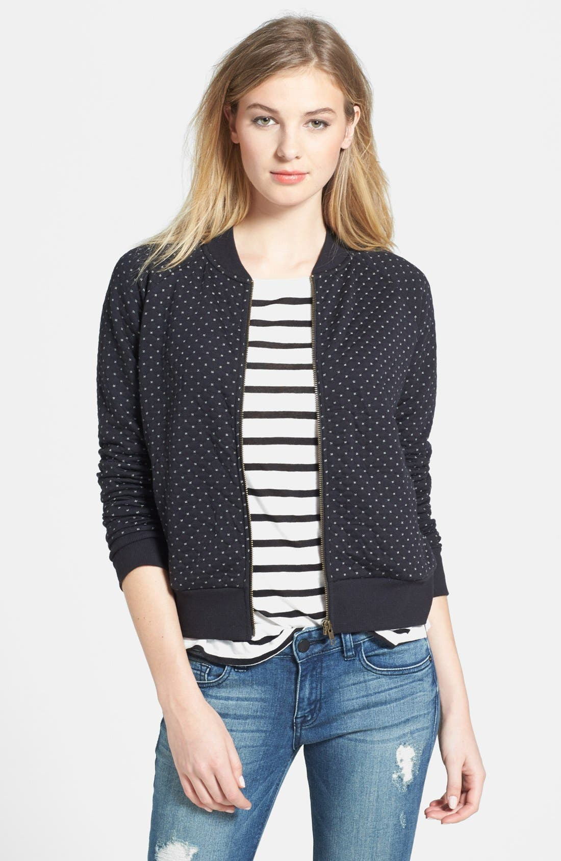 Main Image - Caslon® Quilted Print Knit Jacket (Petite)