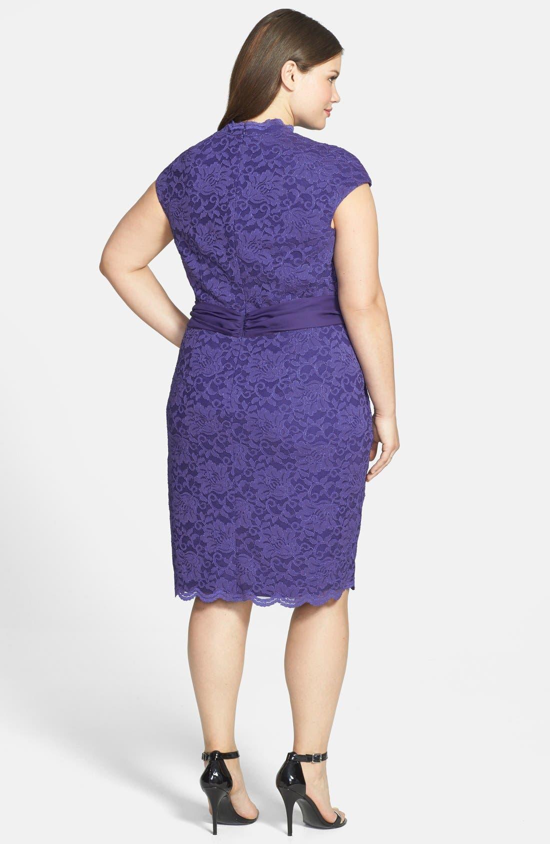 Alternate Image 2  - Alex Evenings Surplice Neckline Lace Dress (Plus Size)
