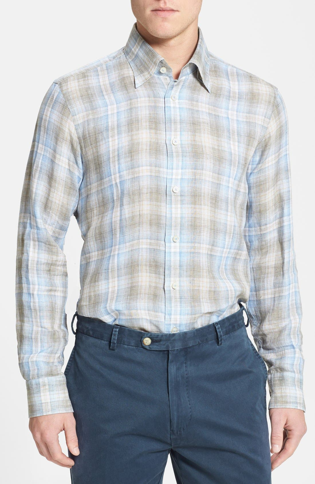 Alternate Image 1 Selected - Robert Talbott Woven Linen Sport Shirt