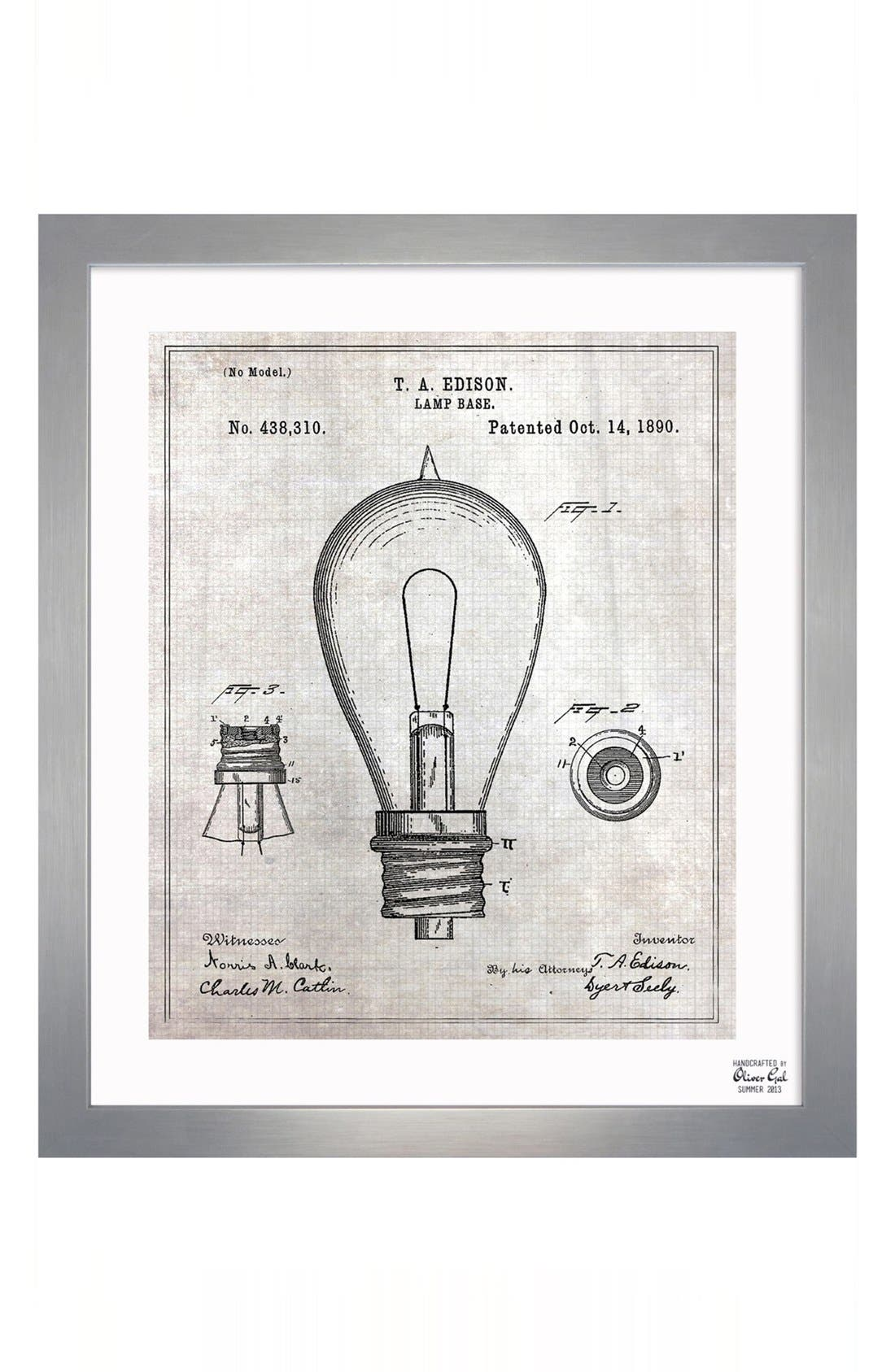 Main Image - Oliver Gal 'Edison Lamp Base' Wall Art