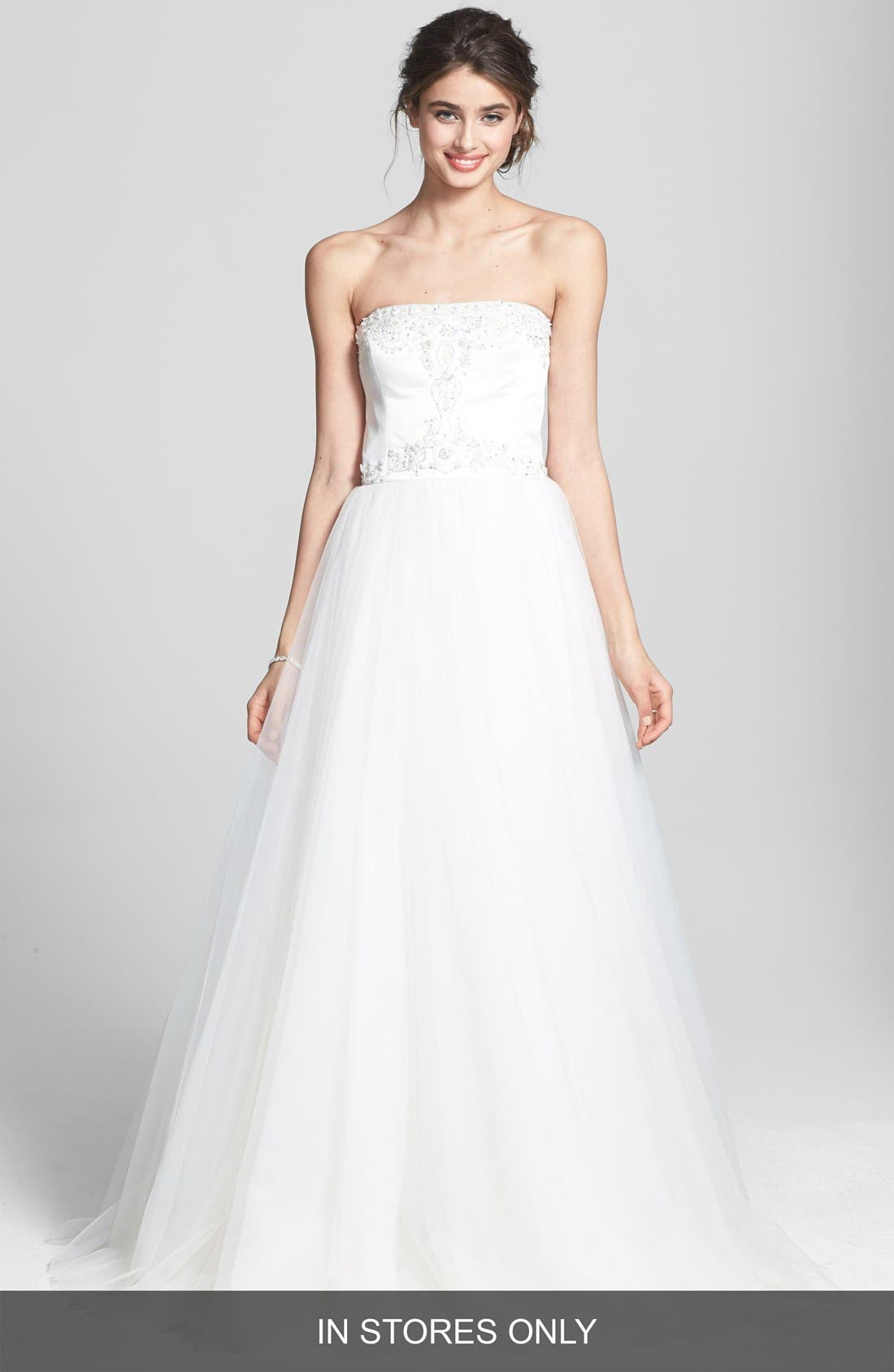 Main Image - Roses by Reem Acra 'Calla' Embroidered Satin & Tulle Dress (In Stores Only)