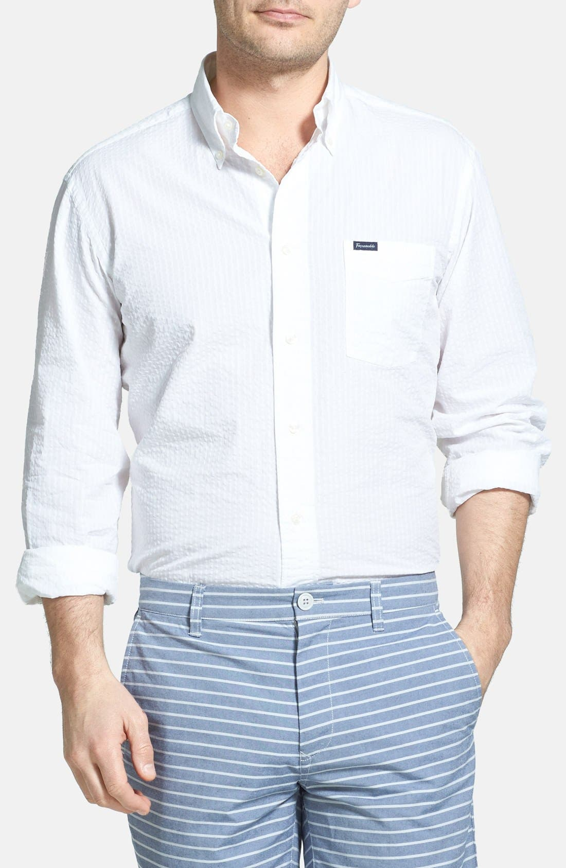 Alternate Image 1 Selected - Façonnable Classic Fit Seersucker Sport Shirt (Tall)