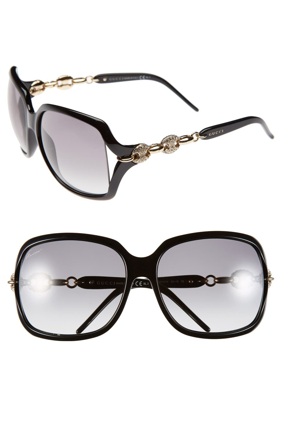 Alternate Image 1 Selected - Gucci 'Marina Chain' 59mm Swarovski Crystal Sunglasses