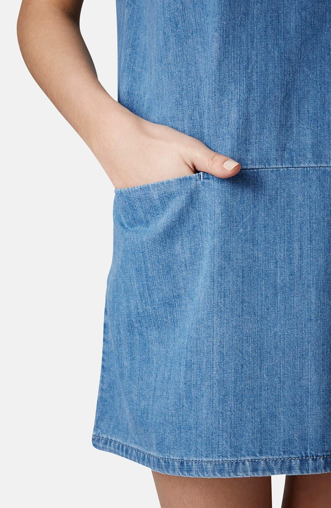 Alternate Image 4  - Topshop Moto Denim T-Shirt Dress (Petite)